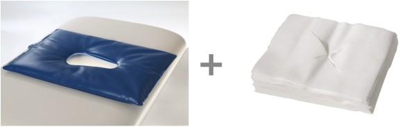 1 Gesichtsauflage-Gelkissen + 1 x 100 Stück Nasenschlitztücher